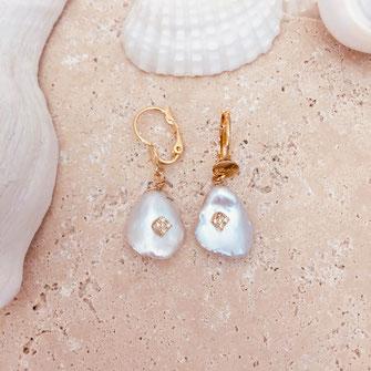 boucle d'oreille KIMIKO keshi perles eau douce naturelle zirconium blanc nacré