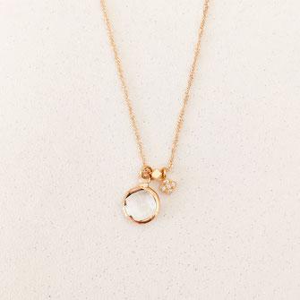 collier Isidor cristal pierre sertie rond fin bijoux collier femme