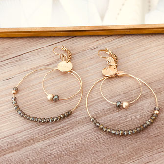 boucles d'oreilles Olivia  créoles anneaux deux doubles doré perles gwapita kaki