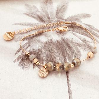 bracelet paula GWAPITA finesse fin doré or perles gris