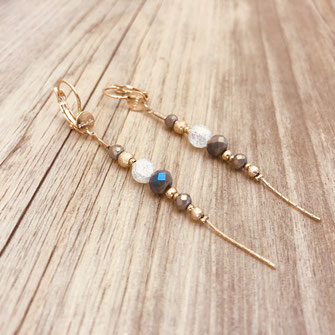 longues boucles doré perles fine boucles d'oreilles gwapita sculpté doré plaqué or gwapita