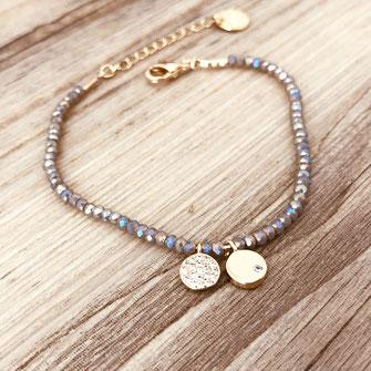 bracelet doré plaqué or fin Gwapita bijoux créatrice française france gris polaire perles