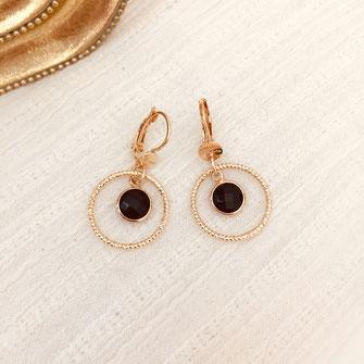 boucles d'oreilles gwapita doré plaqué or creatrice ronde  lola anneau strié sculpté pierre petite noir