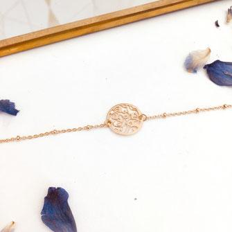 bracelet doré plaqué or fin Gwapita bijoux créatrice française france Angèle dentelle fleurs