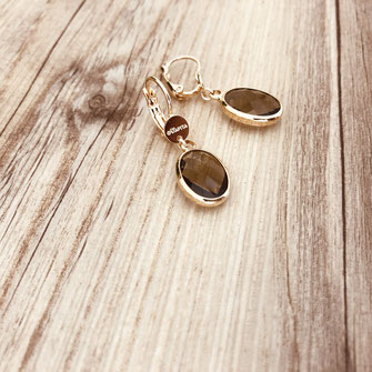 bijoux boucles d'oreilles  oval fine doré gwapita