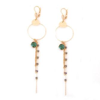 boucles d'oreilles Monica dentelle feuille coeur doré fin création créateur femme bijoux gwapita vert