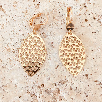 bo boucles d'oreilles gwapita wapita new collection creation bijoux mathilde perle d'eau douce jewels jewelry earrings gold plated plaqué or doré France feuille lucia grande