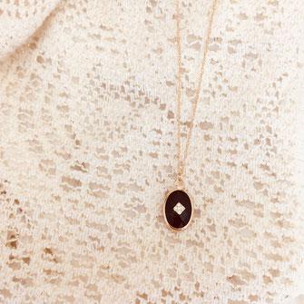 collier Grégoire noir fin zirconium oval pierre cristal