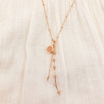collier gwapita aglae nude beige long chaine pendante