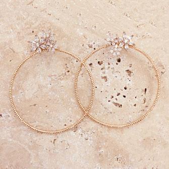 boucles d'oreilles josephine anneau creole  gwapita belle grosse creole ronde breloque papille perles doré plaqué or bijoux earrings vert