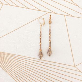 boucles d'oreilles gris polaire longues perles gouttes doré gwapita création