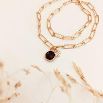 bracelet doré plaqué or fin Gwapita bijoux créatrice française france noir Billy maillon chaîne doré plaqué or