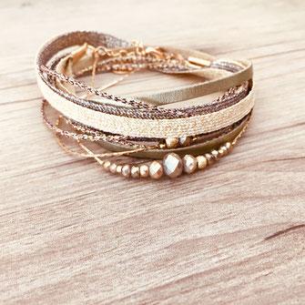 bracelet multirang ruban cordons double tour manchette tissus perles chaine doré plaqué or gwapita bijouxv