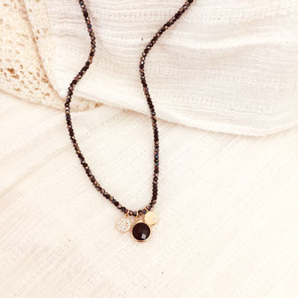 oscar collier perles noir pampilles