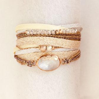 bracelet gwapita fin bijoux France creation finesse perles doré plaqué or  Fernando manchette multirangs pastel rubans cordons perles cristal