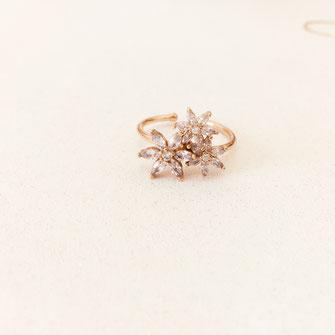 bagues Josephine zircon zirconium fleur flower doré plaqué or femme cadeau bijoux