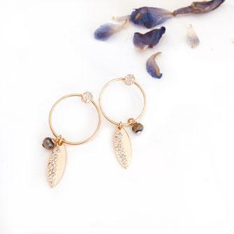boucles d'oreilles gwapita doré plaqué or creatrice ronde feuille zirconium Juliette perle metalic