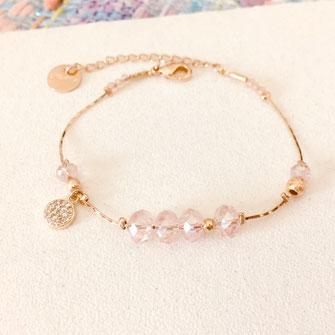 bracelet gwapita fin bijoux France creation finesse perles doré plaqué or  rose poudré perles Paula