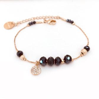 gwapita bracelet doré fin perles bleu montana zirconium