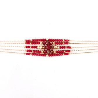 bracelet doré plaqué or fin Gwapita bijoux créatrice française france gwapita bijoux rouge multirangs chaines multi perles