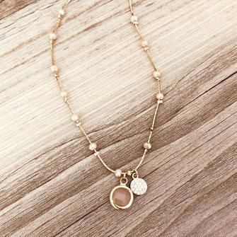 gwapita collier nude perles pierre fin bijoux doré plaqué or