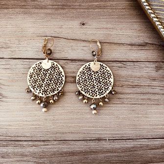 boucles d'oreilles doré gwapita bijoux best-seller longue fine chaine perles dentelle création filigranée strass pyrite