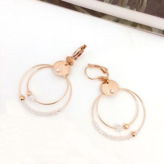 gwapita olivia mini creation boucles d'oreilles blanc anneaux creoles double