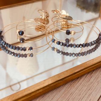 boucles d'oreilles Olivia  créoles anneaux deux doubles doré perles gwapita montana