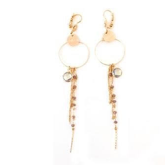 boucles d'oreillesgris clair polaire chaine longue perles doré fin création créateur femme bijoux gwapita