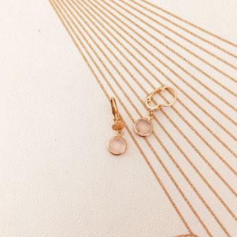 bijoux boucles d'oreilles anneaux créoles rose pale rondes mini petite pierre sertie doré gwapita