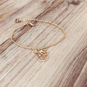bracelet monica gwapita doré ffeuille coeur zirocn brillant or