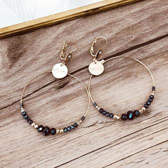 Chloé gwapita boucles d'oreilles earrings earring bleu montana ronde creoles perle