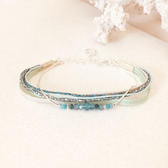 bracelet caraïbe bleu lien cordons ruban perles gwapita fynn plaqué argent argenté