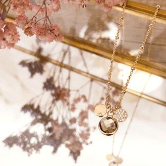 collier choker necklace gwapita bijoux français france createur fin doré plaqué orpierre serti brun gris marron clair