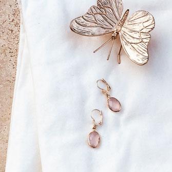 gwapita boucles d'oreilles bijoux création doré  giorgia rose poudré