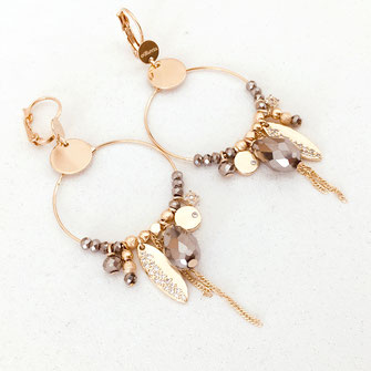 gwapita boucles d'oreilles bijoux création doré  valentinna gris metalic pampilles zircon brillants perles