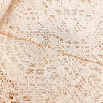 bracelet doré plaqué or fin Gwapita bijoux créatrice française france coeur