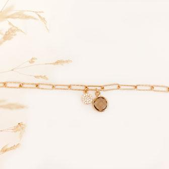 bracelet doré plaqué or fin Gwapita bijoux créatrice française france pyrite Raphael gros maillon pierre sertie zirconium