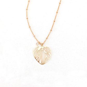 collier gwapita monica bijoux fin doré or feuille fin or coeur