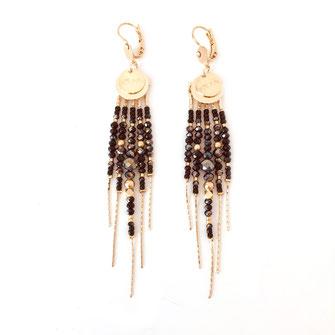 boucles d'oreilles noire gwapita belle grosse creole ronde breloque papille perles doré plaqué or bijoux earrings noir diva longues