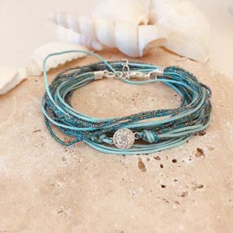bracelet caraïbe multirangs rubans brillant argent plaqué argenté