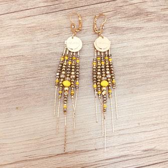 boucles d'oreilles earring gwapita bijoux français france createur fin doré plaqué or perles diva longues perles