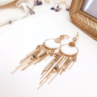 boucles d'oreilles gwapita doré plaqué or creatrice ronde LONGUE MULTI CHAINES GISELE Gisèle bijoux femme