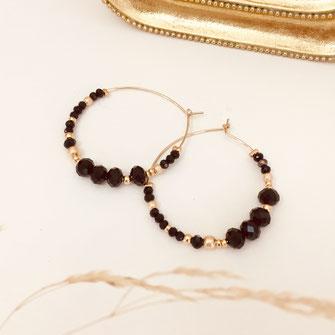 boucles d'oreilles gwapita doré plaqué or creatrice ronde  créoles ROMY noir perles raffiné femme bijoux earrings