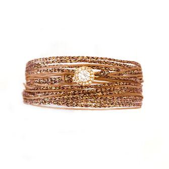 adèe gwapita bracelet ruban cordon brillant diamant zirconium beige nude marron doré