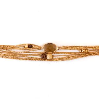 jules bracelet gwapita bijoux creation double tout multirangs doré pierre marron perles plaqué or
