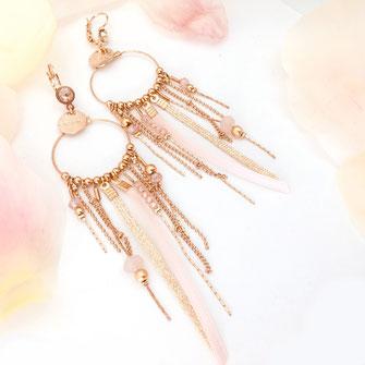 gwapita boucles d'oreilles bijoux création doré samba rose poudré grosse bo longue or