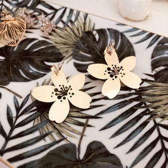 gwapita boucles d'oreilles bijoux création doré  selena or fleur grande brillants