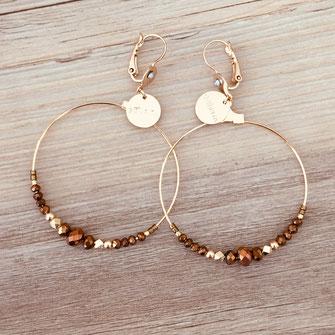 Chloé gwapita boucles d'oreilles earrings earring camel marron ronde creoles perle