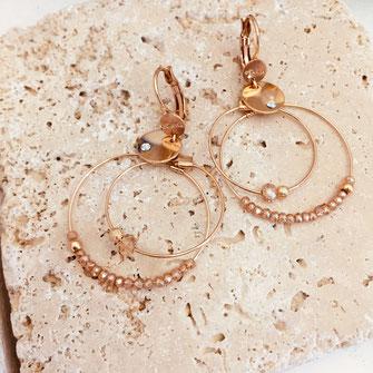 gwapita olivia mini creation boucles d'oreilles champagne anneaux creoles double